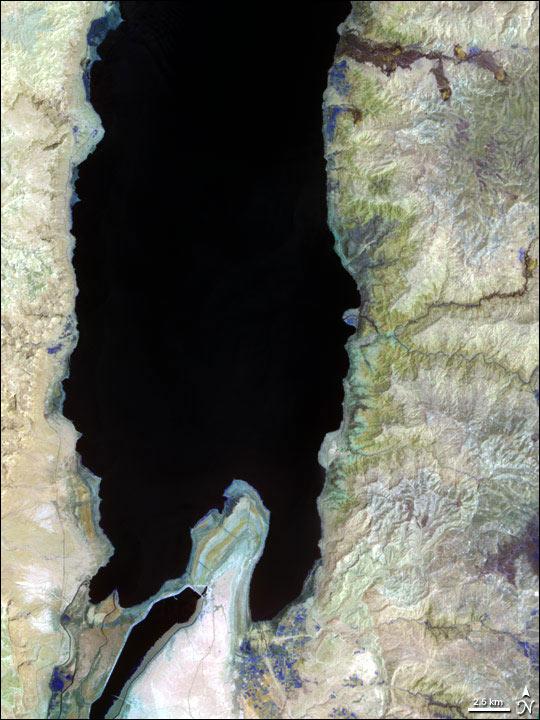Imagem de Satélite - Mar Morto entre Israel e Jordânia